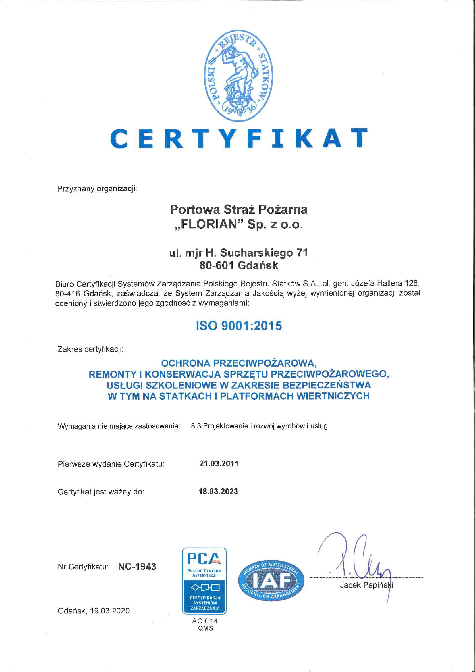 ISO 9001 FOR HFS FLORIAN